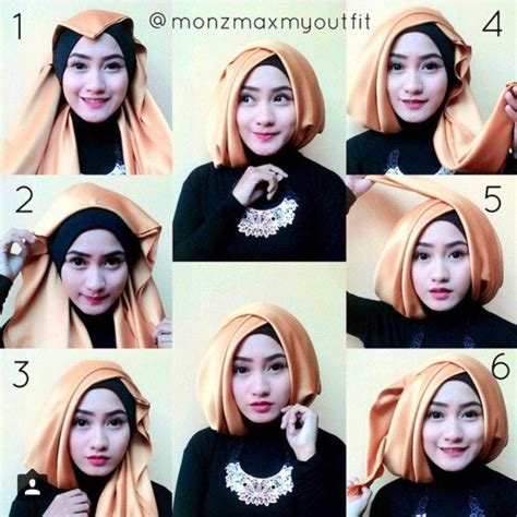 tutorial dandan ke pesta 17 kreasi model hijab segi empat simple modern 2018 terbaik