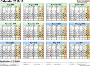 Calendar December 2017 To March 2018 Split Year Calendars 2017 18 July To June For Pdf Uk