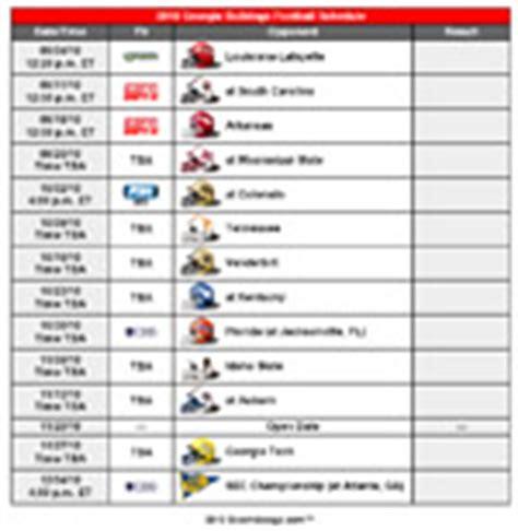 printable uga schedule 2010 printable georgia bulldogs football schedule updated
