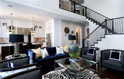 Modern Cowhide Chairs Indigo Blue Sofa Contemporary Living Room Atmosphere