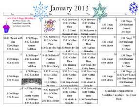 activity calendar template for seniors sle activity calendar for seniors invitations ideas