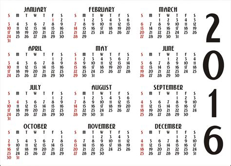 2016 Calendar By Month 12 Month Calendar 2016 Free Stock Photo Domain