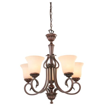 Bronze Chandelier Lighting Shop Portfolio Colton Lakes 25 25 In 5 Light Rubbed Bronze Mediterranean Tinted Glass Shaded