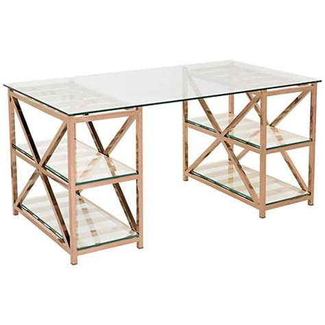 rose gold desk l nelson rose gold steel 4 shelf home office desk 9f097