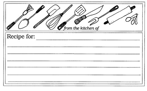 Free Black And White Recipe Card Template Word by Mormon Utensils Recipe Card