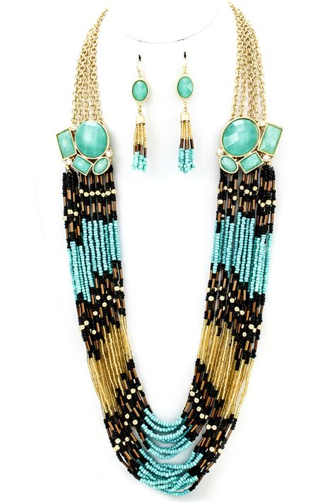 Multi Strand Seed Bead Necklace Set Necklaces