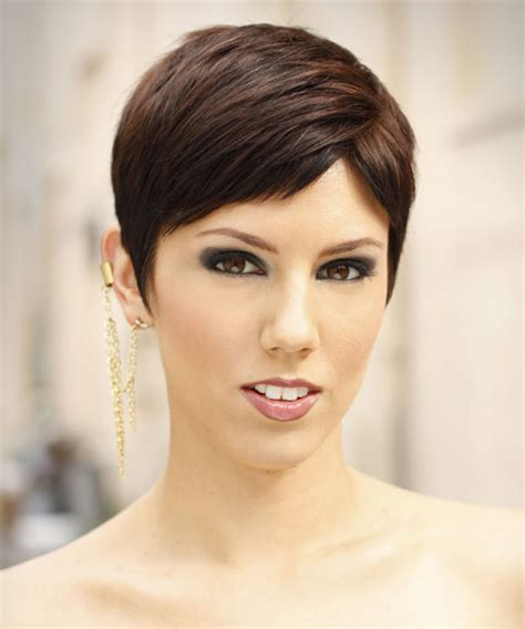 cut hair for height short straight formal pixie hairstyle with side swept