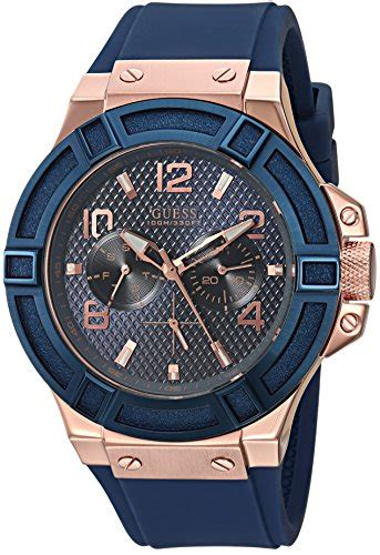 Guess W0149l5 Rosegold Blue guess s stainless steel silicone casual color