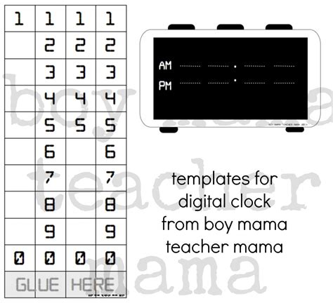 digital clock template printable creating a digital clock for teaching time