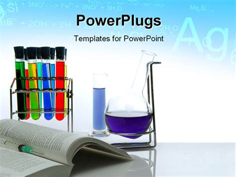 powerpoint template chemistry theme with a book flask