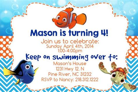 finding nemo invitation printable 4x6 file personalized