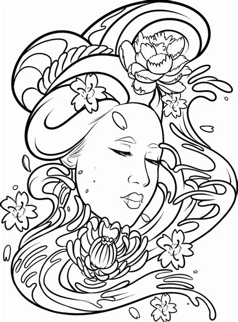 coloring page here home geisha deviant art of a geisha
