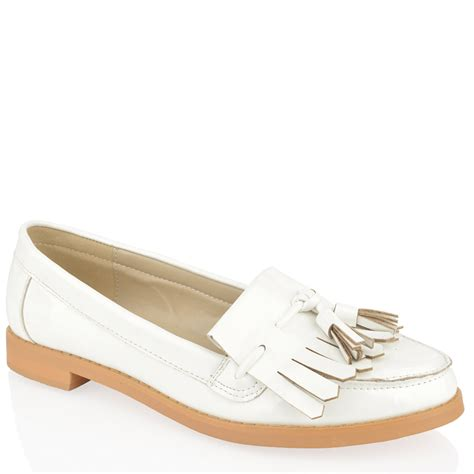 womens white loafers womens flat casual office patent faux leather