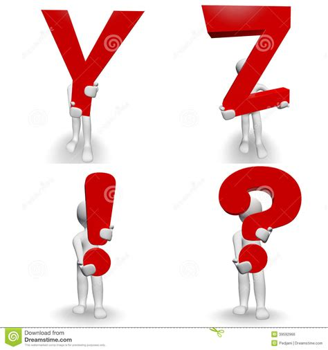Character Holding Letter 3d human character holding letter y z stock