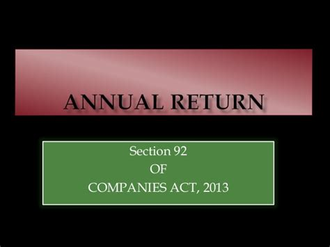 Companies Act Section 45 by Annual Return