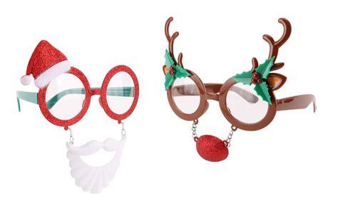 sparkle light christmas glasses novelty glitter reindeer santa claus glasses specs fancy dress gift ebay