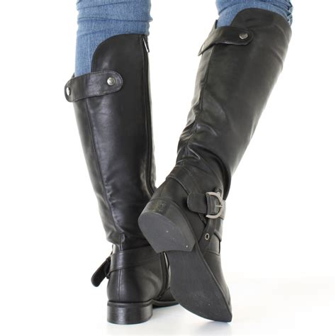 black biker style boots womens black leather style riding biker strap flat ladies
