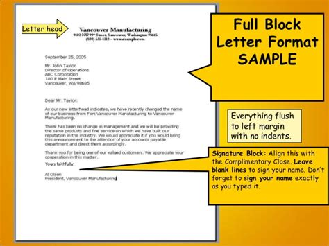 Business Letter Parts And Kinds block type letter format letter format 2017