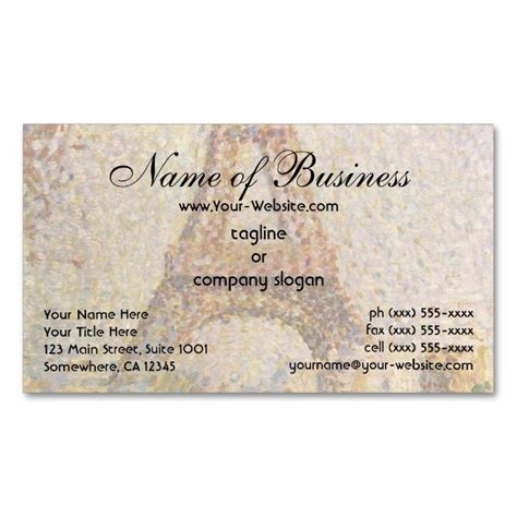 i need a template for a business card eiffel tower by georges seurat business card