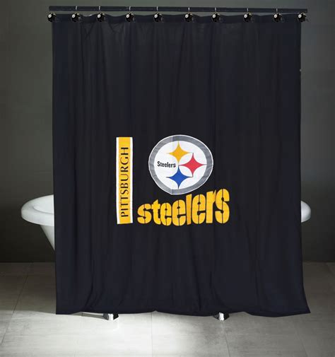 Nfl Pittsburgh Steelers Bath Curtain Shower Rings Set Football Logo Bathroom Ebay