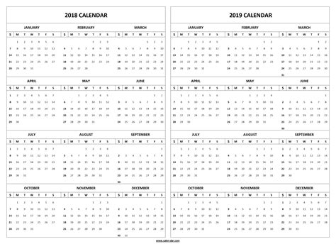 printable yearly calendar 2019 2018 2019 calendar printable template 2018 and 2019