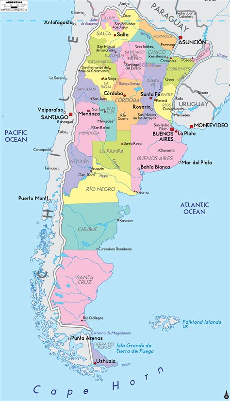 map of argentina with cities political map of argentina ezilon maps