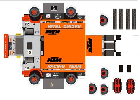 ktm racing team race cars papercraft