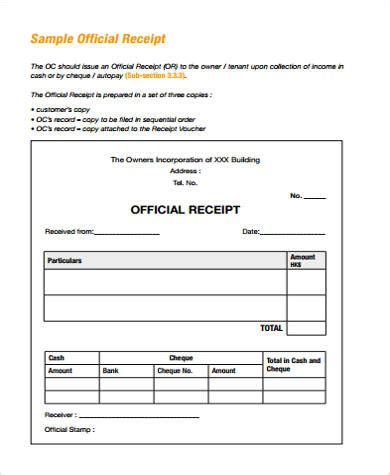 official receipt template free official receipt sle 15 exles in word pdf