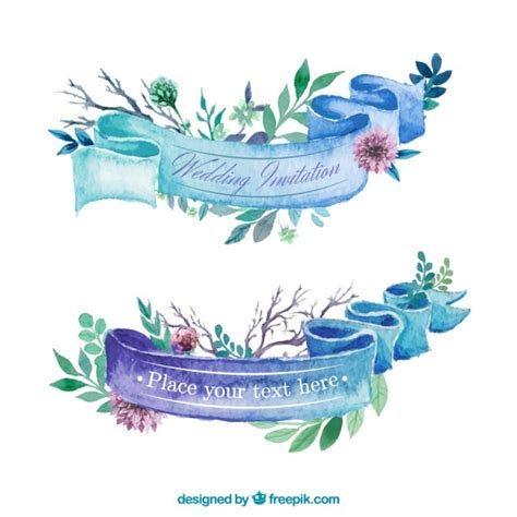 Wedding Invitation Banner Free Vector by Watercolor Ribbon For Wedding Invitation Vector Free