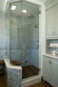 Spa Bath Shower Spa Shower With Glass Tiles And Teak Floor Contemporary