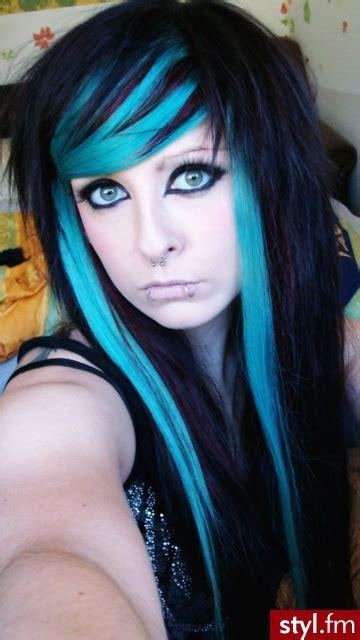 cute neon highlights fryzury emo