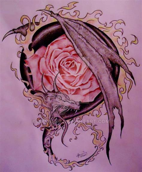dragon rose tattoo design by aylabur on deviantart