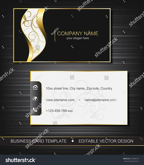 Business Card Front And Back Template Illustrator by Business Card Template Gold Front Stock Vector