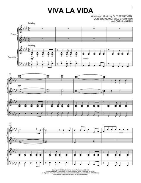 tutorial piano viva la vida viva la vida sheet music by coldplay piano duet 163564