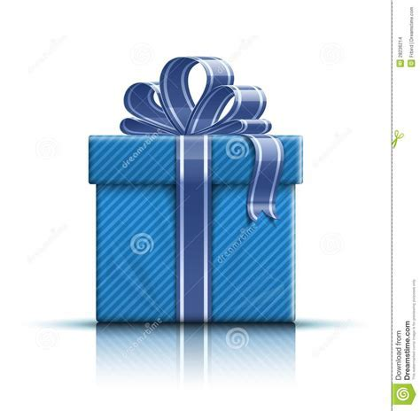 Blue Gift Box With Ribbon And Bow Stock Images   Image