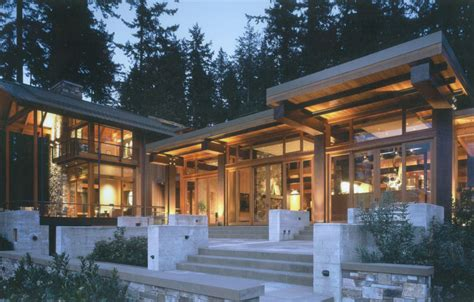 beautiful wood beautiful house of wood stone and steel on bainbridge island