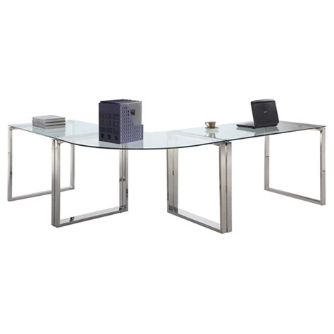 3 Pieces Computer Desk Glass Top Stainless Steel Base 3 Glass Computer Desk