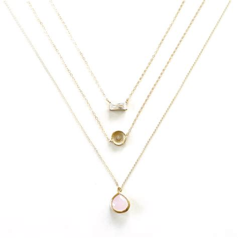 pink pendant gold coin layer necklace