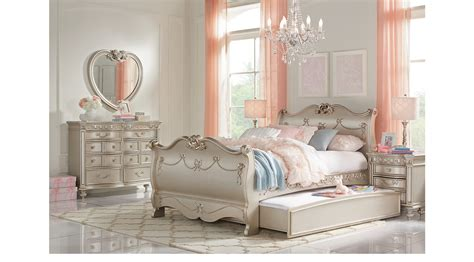 Princess Bedroom Set by Disney Princess Silver 6 Pc Sleigh Bedroom