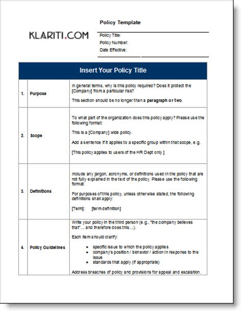 policy template policy manual template free checklists and forms