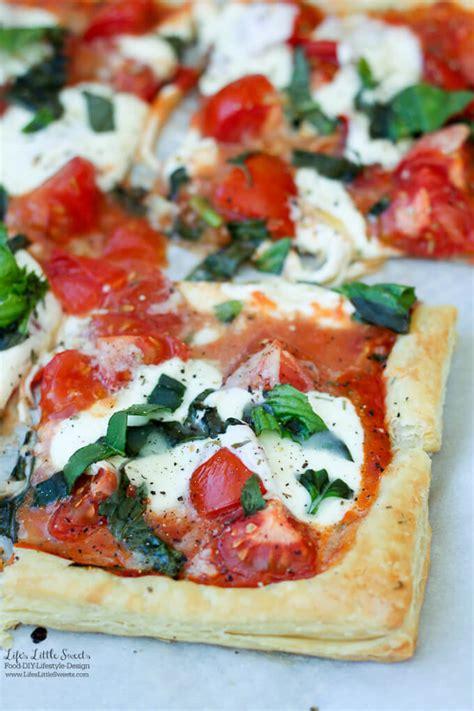 easy sweet and savory cherry tomato tart tomato basil mozzarella puff pastry tart tomato sauce