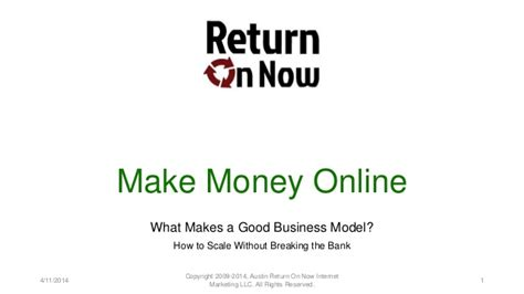 Make Good Money Online - make money online what makes a good business model
