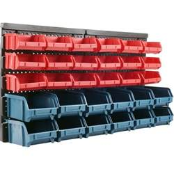 wall mounted 30 bin plastic rack box storage organizer