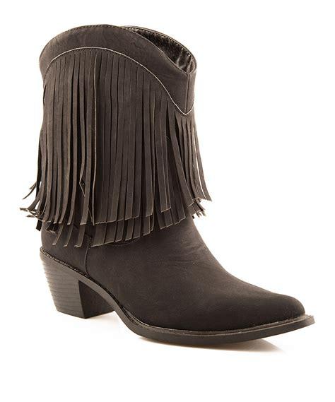 roper black fringe cowboy ankle boot zulily