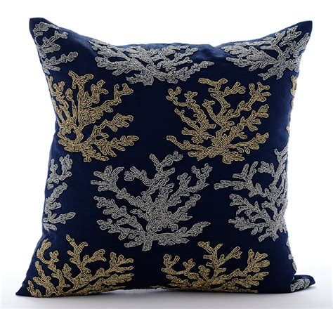 Navy Blue Accent Pillow by Navy Blue Accent Pillows 16x16 Square Cotton