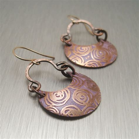 Handmade Copper - handmade etched copper earrings flickr photo