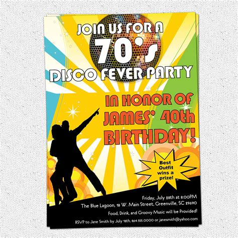 70s party invitations disco ball 70s seventies themed party invitations