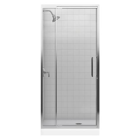 Shower Doors At Home Depot Kohler Purist 33 In X 72 In Heavy Semi Frameless Pivot Shower Door In Bright Silver With Clear