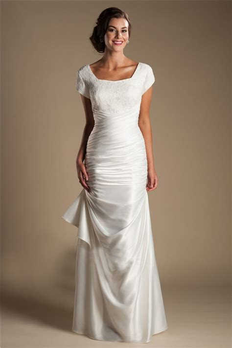 satin silk wedding dresses modest square neck cap sleeve silk satin ruched wedding