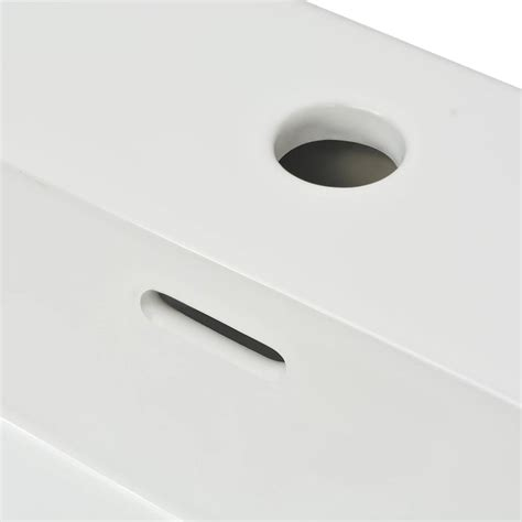 ceramic l with holes vidaxl basin with faucet hole ceramic white 51 5x38 5x15